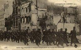 DENDERMONDE  Défilé D'un Régiment D'Infanterie Belge Parmi Les Ruines De Termonde 1914/15 WWI WWICOLLECTION - Dendermonde