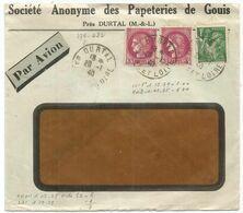 CERES 3FR PAIRE + 1FR IRIS LETTRE A FENETRE AVION DURTAL 29.1.1940 POUR TONKIN    AU TARIF - Marcofilia (sobres)