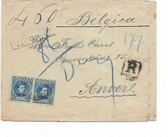 SH 0615. Paire N° Yv. 218 S/Lettre RECOMMANDEE Datée De CEUTA - Obl. CADIZ 1901 Vers Anvers - Storia Postale