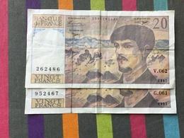 FRANCE Lot De 2 Billets De 20 Francs Debussy - 1962-1997 ''Francs''