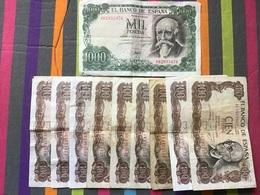 ESPAGNE Lot De 10 Billets Ayant Circulé - [ 3] 1936-1975 : Régimen De Franco