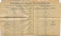 Lettland - Riga - Fahrplan Der Rigaer Strassenbahnen 1-9 - 25. Okt 1913 - 7. Nov. 1913 - Europa