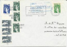 LETTRE 1981 AVEC 8 TIMBRES AU TYPE SABINE - 1961-....