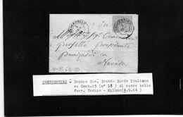 CG35 - Lettera Da Crescentino Per Novara 4/9/1864 - Ann. Doppio Cerchio Sardo/Ital Su Cent, 15 - 1861-78 Victor Emmanuel II