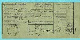 Telegraafafst. DINANT (CENTRE) 22/09/1913 Op Quittance Admin. Télégraphes, Verso GEDINNE 23/09/1913 - Belgium