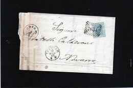 CG35 - Lettera Da Oderzo Per Novara ) 9/5/1868 Trans. Treviso - Ann. A Punti Su Cent. 20 - Storia Postale