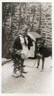Petite Fille Et Son Chien Photo 6x8 Prise En 1934 à Lannion (22) - Identified Persons