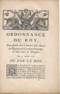 """ORDONNANCE DU ROY 1729 """" Pour établir Deux Cornettes Dans Chacun Des Régimens De Cavalerie ..et Dragons"""" - Decrees & Laws"""