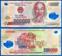 Vietnam 200000 Dong 2018 Prefixe IU Que Prix + Port 200 000 Asie Asia Billet Polymere Paypal Bitcoin OK - Vietnam