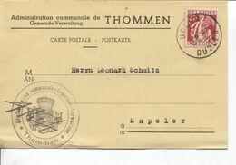 REF1739/ TP 339 S/CP Administration Communale De Thommen/Gepeinde-Verwaltung Sceau C.Udler/Oudler 18/6/37 > Espeler - Belgium