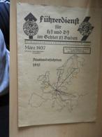 """1 Heft """"Führerdienst Für HJ Und DJ Im Gebiet 21 Baden 1937 - Documenten"""