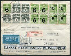 """Dänemark 1942 Luftpost Reco/Einschreib Bedarfsbrief Mit Mi.Nr.253,255 Und Deutscher Briefzensur,vom 21.3.1942 """"1 Beleg - 1913-47 (Christian X)"""