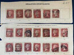 Lot Timbres Reine Queen Victoria 1 Penny Rouge Red Dentelé Second Choix Et Défectueux Pour Planchage - 1840-1901 (Victoria)