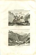 280820 - GRAVURE - 1835 - FRANCE PITTORESQUE 65 HAUTES PYRENEES CHAPELLE D'ARRENS CASCADE DE GAVARNIE - Gavarnie