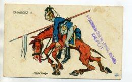 """MILITARIA Satirique Lancier Allemand """" Chargez """" Mass' Beuf - CACHET 8 Em Escadron Train Equipages Militaires /D02-2017 - Oorlog 1914-18"""