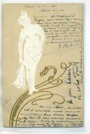 ILLUSTRATEUR F  ART NOUVEAU  Jeune Femme Dénudée Gaufrée  Dorures écrite 1901 Leipzig   D09 2017 - Illustratoren & Fotografen