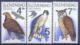 SK 1994-195-7 BIRDS, SLOVAKIA, 1 X 3v, MNH - Adler & Greifvögel