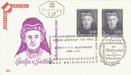 AUSTRIA. FDC. BERTHA VON SUTTNER. WRITER. 1965 - FDC