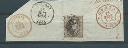 N° 6 OBLITERERATION A POINTS 120 TOURNAI SUR FRAGMENT - 1851-1857 Medaillen (6/8)