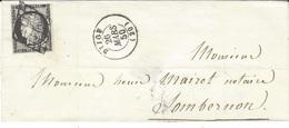 1850- Lettre De Dijon ( Cote D'or ) Cad T15 ( 3 Marges) -court En Haut à Droite )oblit. Grille - 1849-1876: Periodo Clásico