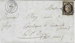1849-lettre De Soissons ( Aisne ) Cad T15 Affr. N°3 ( 3 Marges -court à Droite ) - 1849-1876: Période Classique