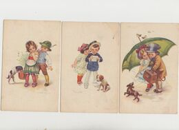 3 Cartes Fantaisie Signées Castelli / Enfants Et Petit Chien - Castelli