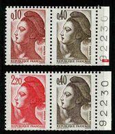 FRANCE - YT 2179a Et 2376b ** - LIBERTE - 2 PAIRES DE TIMBRES NEUFS ** DE CARNET - 1982-90 Liberté De Gandon