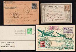 FRANCE: Bon Lot De 12 Lettres Ou Cartes + 4 Cartes Recommandées (qui Ne Sont Que Des Devants) Obl 1875/1965. - Marcophilie (Lettres)