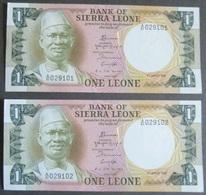 2 BILLETS  BANK OF SIERRA LEONE  - ONE LEONE 1984  ( NEUF ) - Sierra Leone