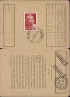 Sur Carte D'abonnement YT 733 Seul Sur Lettre Sur Document CAD Paris RP Affranchissements E 1 XII 46 - 1921-1960: Période Moderne
