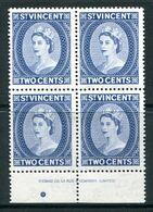 St Vincent 1955-63 QEII Definitives - 2c Blue - Thomas De La Rue Imprint Block MNH (SG 190a) - St.Vincent (...-1979)