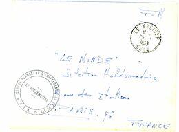 ALGERIE ENV 1958 LE KREIDER ORAN RECETTE DISTRIBUTION FM CENTRE D'EXPERIMENTATION ET DE TIR LETTRE AVION - Cartas