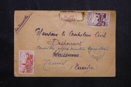MAROC - Enveloppe En Recommandé De Bouznika Pour Kasserine ( Tunisie ) En 1949 Et Redirigé Vers Tunis - L 70719 - Briefe U. Dokumente