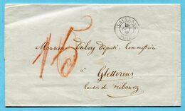 Umschlag Von Lausanne Nach Gletterens 1853 - Suisse