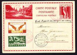 1929 Postkarte Mit Bild Castasegna-Maloja- St. Moritz, Postauto. Mit Zeppelin Flug, Aus St. Gallen Nach Bern. 2 Flugpost - Stamped Stationery
