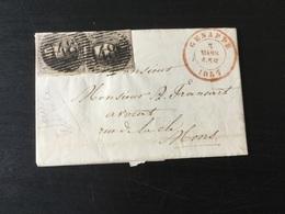 N°6 Paire Verticale Quasi Margee Sur Lettre. 2x Superbe Obl P48 Et DC Genappe Le3mars 1857vers Mons - 1851-1857 Medallions (6/8)