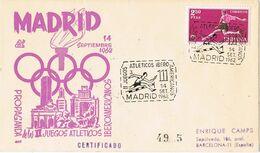 37512. Carta Certificada MADRID 1962. Juegos Atleticos Ibero Americanos. Carteria - 1931-Aujourd'hui: II. République - ....Juan Carlos I