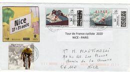 France,lettre Du Tour De France Cycliste 2020 . Départ De Nice  Datée Du 27/ 08 / 20. Montimbrenligne,et Vignettes - Otros