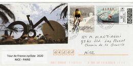 France,lettre Du Tour De France Cycliste 2020 . Départ De Nice  Datée Du 27/ 08 / 20.Montimbrenligne Et Vignettes - Otros