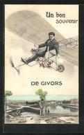 CPA Givors, Rosenkavalier Im Un Avion über Der Ortschaft - Givors