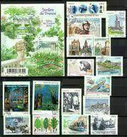 (L404) Année 2011 : Quinze Timbres Et Un Feuillet (jardin Cheverny Villandry), Tous Oblitérés Et Gommés - Oblitérés