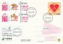 China 2020, COVID-19 ATM On Postal Used Pre-Stamped Post Card From Beijing To Macau, Top Up ATM, Arrival Chop On Back - Brieven En Documenten