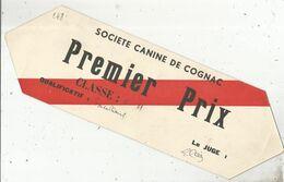 Plaque En Carton , SOCIETE CANINE DE COGNAC , Premier Prix 1937,  2 Scans , Frais Fr 2.35 E - Plaques En Carton