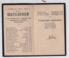 GESNEUVELDEN EN DOODGEMARTELDE MEDEBURGERS DESTELBERGEN   OORLOG 1914 _ 1918    2 SCANS - Engagement