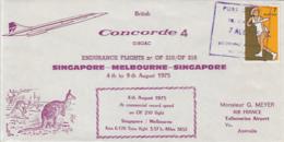 TRANSPORT, CONCORDE PLANE, SINGAPORE-MELBOURNE-SINGAPORE FLIGHT, SPECIAL COVER, 1975, AUSTRALIA - Concorde