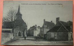 CARTE THENAY Près Saint GAULTIER - 36 - LA PLACE ET L' EGLISE -2 SCANS-12 - Autres Communes