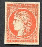 France N°7, 1 F Vermillion Cérès, Neuf(*), Faux - 1849-1850 Cérès