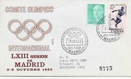 3550   Carta  Certificada Madrid 1965, Comité Olímpico , Internacional - 1931-Aujourd'hui: II. République - ....Juan Carlos I