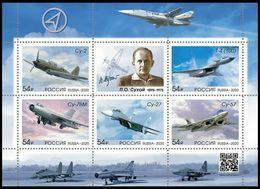 RUSSIA 2020 Block MNH VF ** Mi 2890-94 Bl 306 SUKHOY Sukhoi ENGINEER AIRPLANE DESIGNER AIR FORCE MILITARY PLANE 2668-72 - Blocks & Kleinbögen