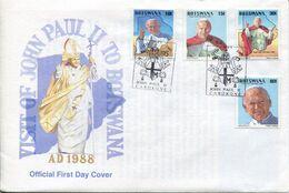 Botswana Mi# 439-42 Used On Official FDC - Papal Visit - Botswana (1966-...)